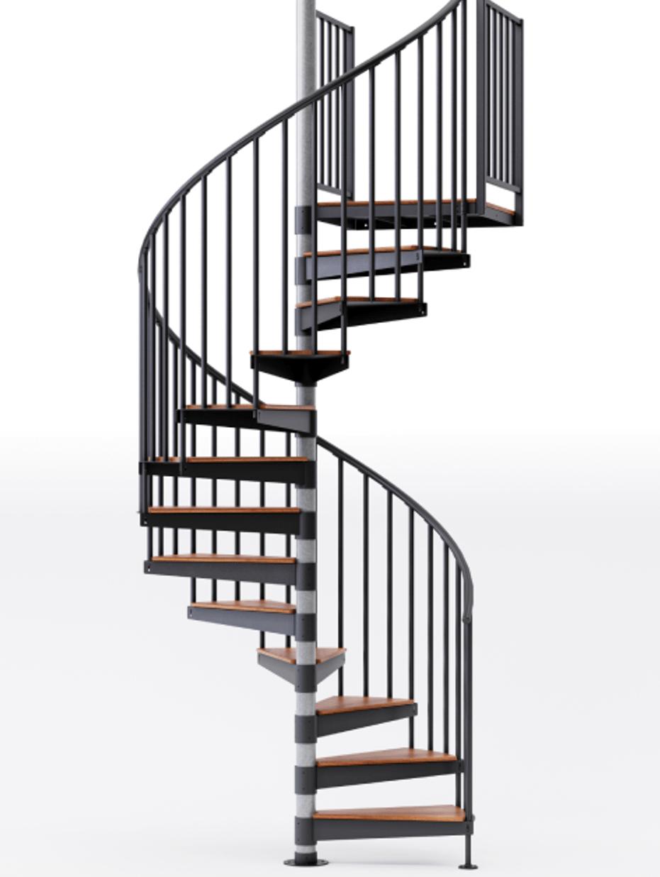 Shop The Reroute Black 5 Red Oak Spiral Stair Kit Mylen Stairs | Spiral Staircase Wood Treads | Arke | Design | Checker Plate | Platform Stair | Aluminum