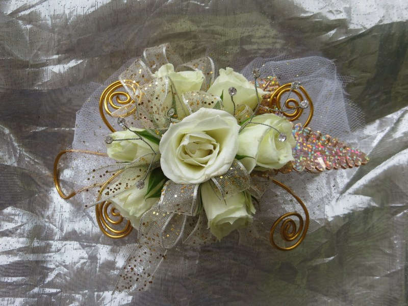 White Rose corsage for Prom   Roses  Orchids   Pasadena TX Gold Corsage for Prom with White Roses  Prom Flowers by Enchanted Florist  Pasadena TX