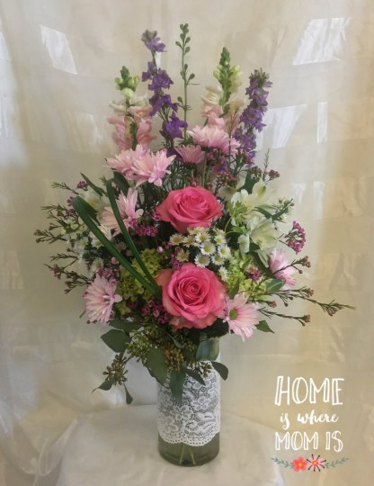Lace   Pink Flowers for Mothers Day in Pasdadena Love and Lace Pink Mothers Day Flowers by Enchanted Florist Pasadena  TX Beautiful pinks and