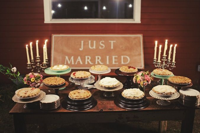 8 Non Traditional Wedding Cake Alternatives   MyWedStyle com Pies  An assortment of pies offers several different options for guests   and they can even be themed based on the season  To save on money and have  a