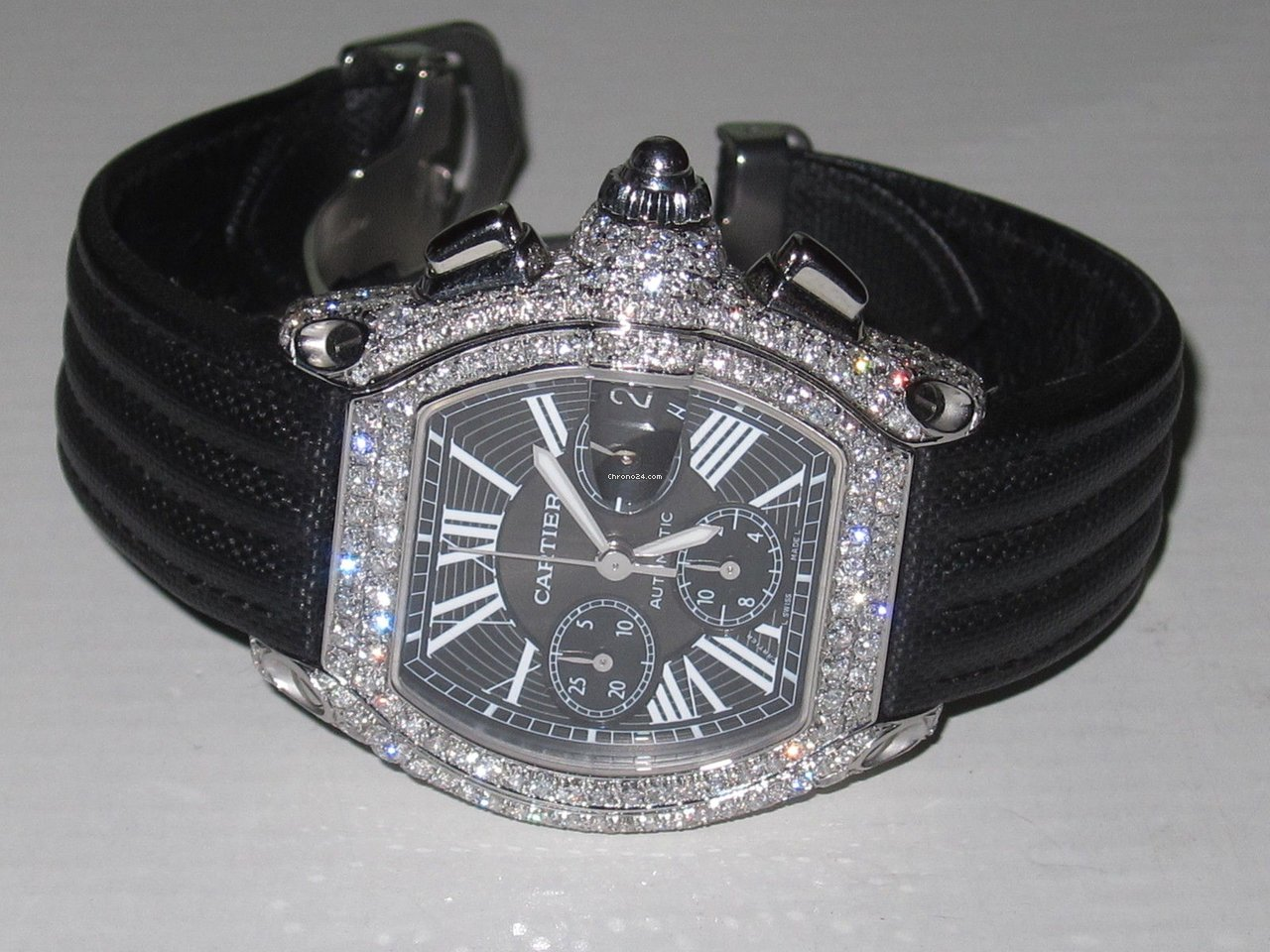 Cartier Roadster XL Chronograph Diamonds for  9 999 for sale from a     Cartier Roadster XL Chronograph Diamonds for  9 999 for sale from a Trusted  Seller on Chrono24