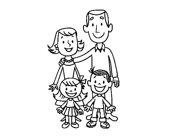 Dibujos De Familia Para Colorear E Imprimir: Dibujo De Familia Para Colorear