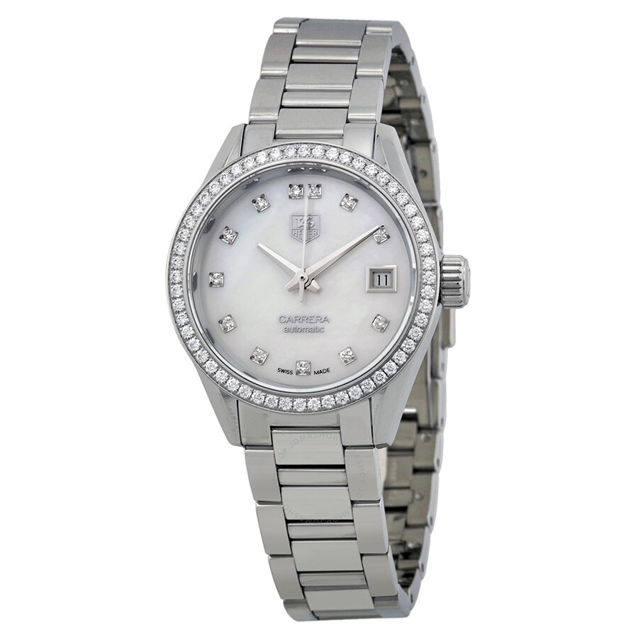 Tag Heuer Carrera Automatic Mother of Pearl Diamond Dial ...