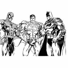 Top 33 Free Printable Spiderman Coloring Pages Online Spiderman Superman and Batman in One Frame Coloring Pages