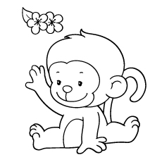 baby monkey coloring pages # 2