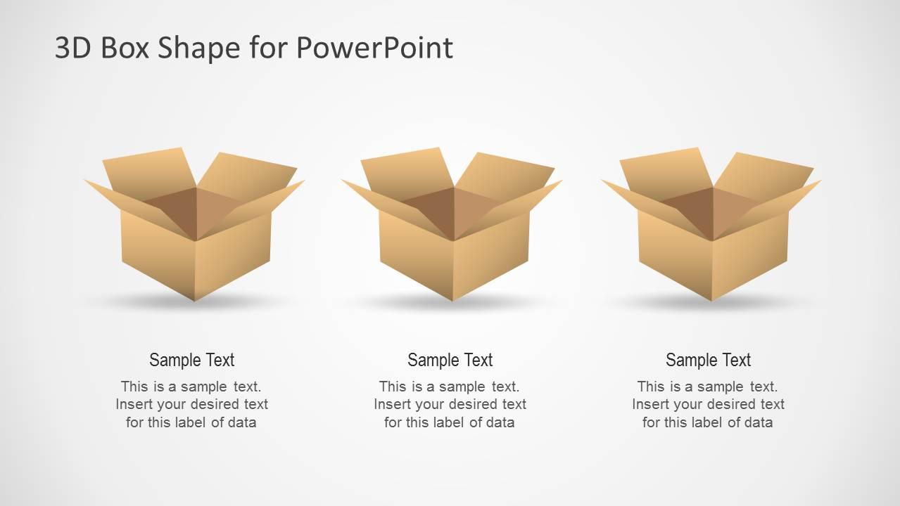 3d Cardboard Box Shapes For Powerpoint Slidemodel