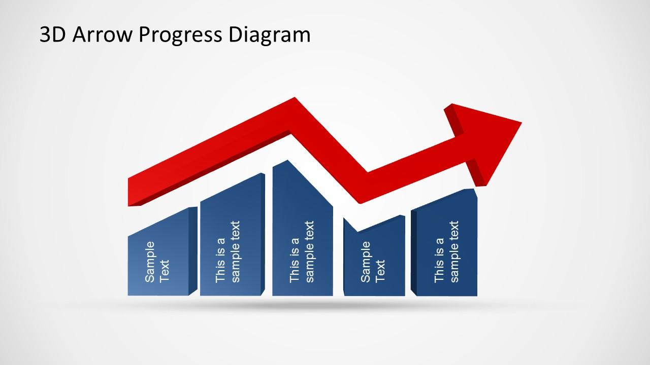3d Arrow Progress Diagram Template For Powerpoint Slidemodel