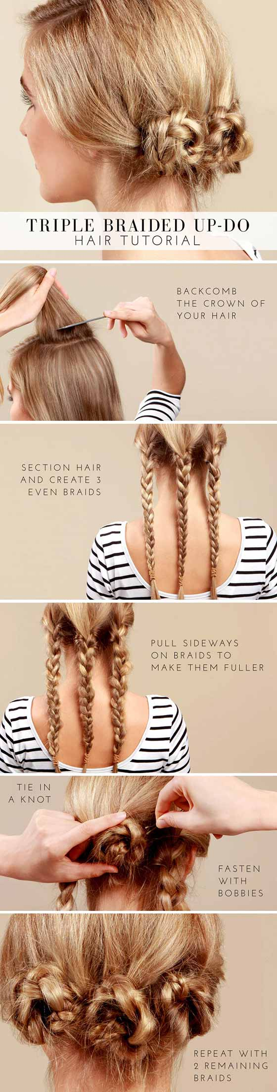40 Braided Hairstyles For Long Hair Triple Braided Bun