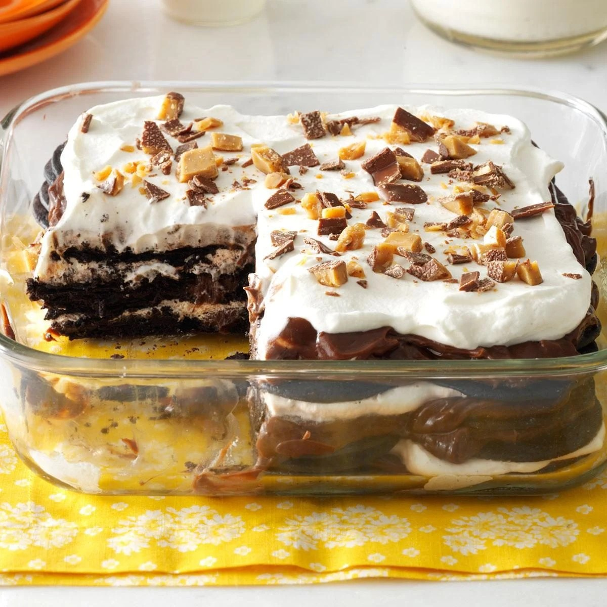 Double Chocolate Toffee Icebox Cake Recipe Taste Of Home