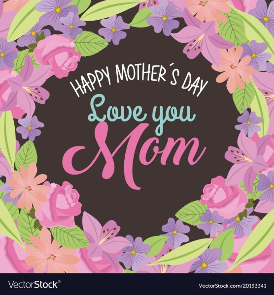 Happy mothers day love mom round border flowers Vector Image
