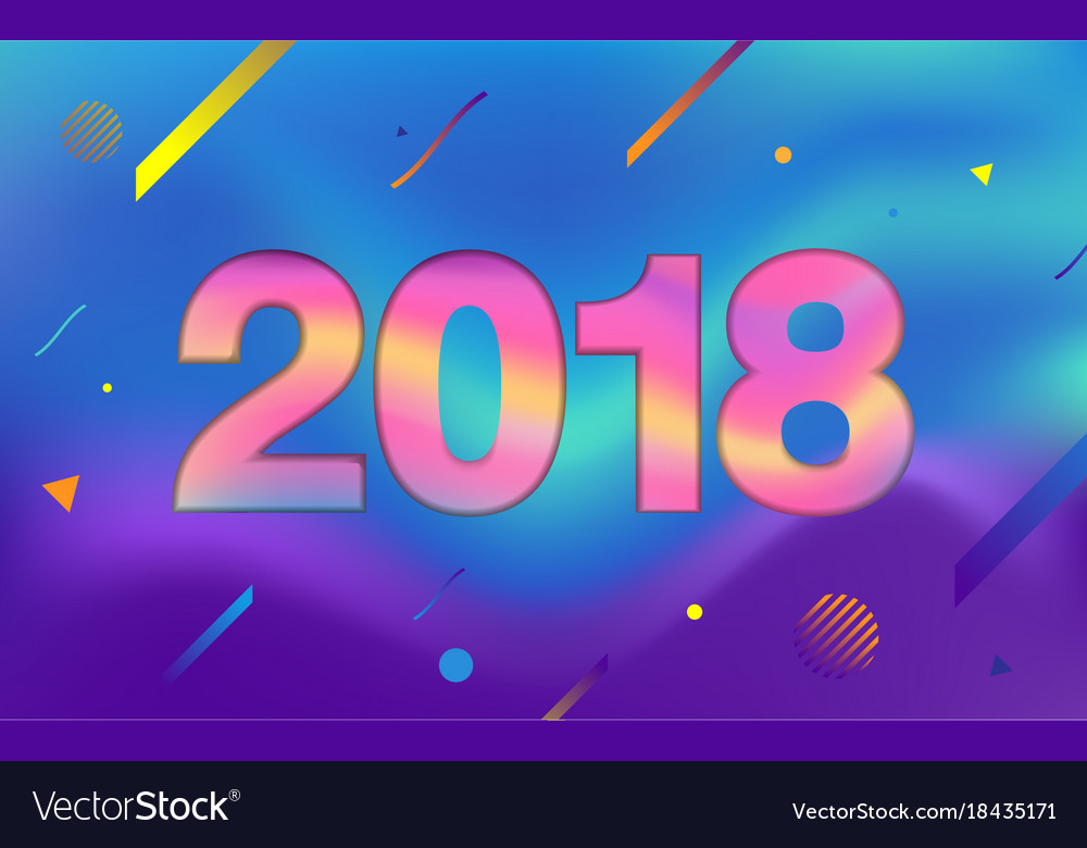 Happy new year 2018 fluid color and colorful Vector Image