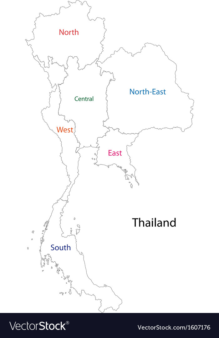 Outline Thailand map Royalty Free Vector Image Outline Thailand map vector image