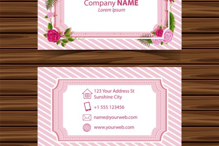 Businesscard template with roses border Royalty Free Vector Businesscard template with roses border vector image