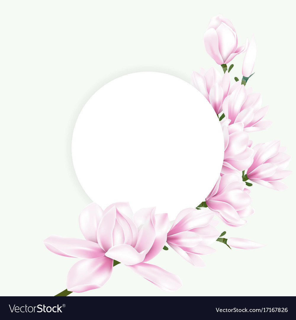 Round paper with pink magnolia flowers Royalty Free Vector Round paper with pink magnolia flowers vector image