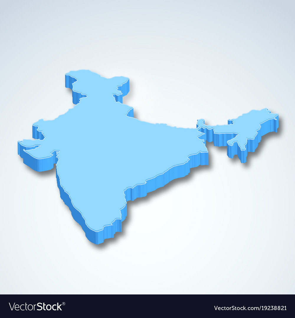 Detailed 3d map of india asia Royalty Free Vector Image Detailed 3d map of india asia vector image