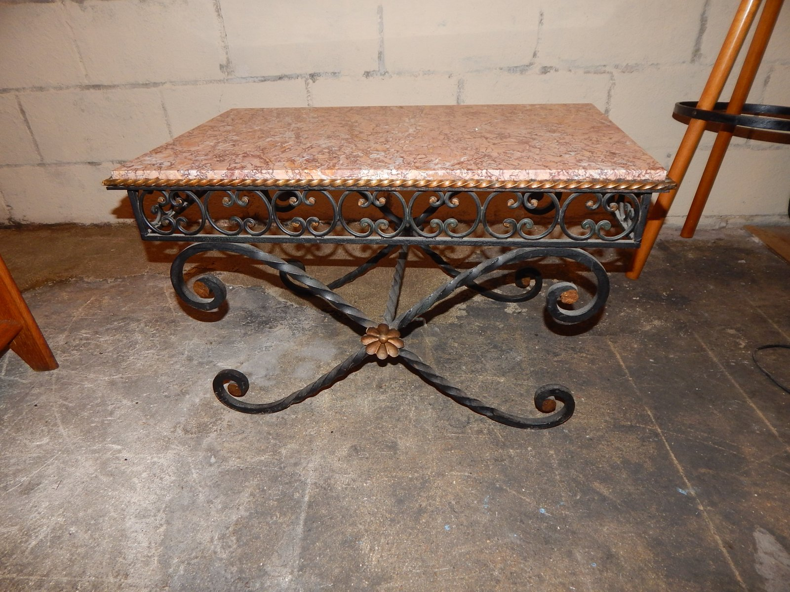 Vintage Wrought Iron Amp Marble Coffee Table 1930s For Sale