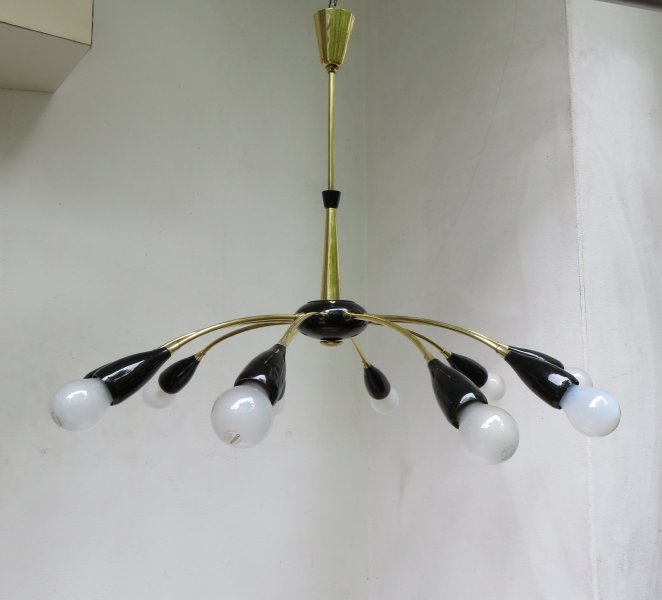 Sputnik Ceiling Lamp with 10 Lights  1950s for sale at Pamono Sputnik Ceiling Lamp with 10 Lights  1950s
