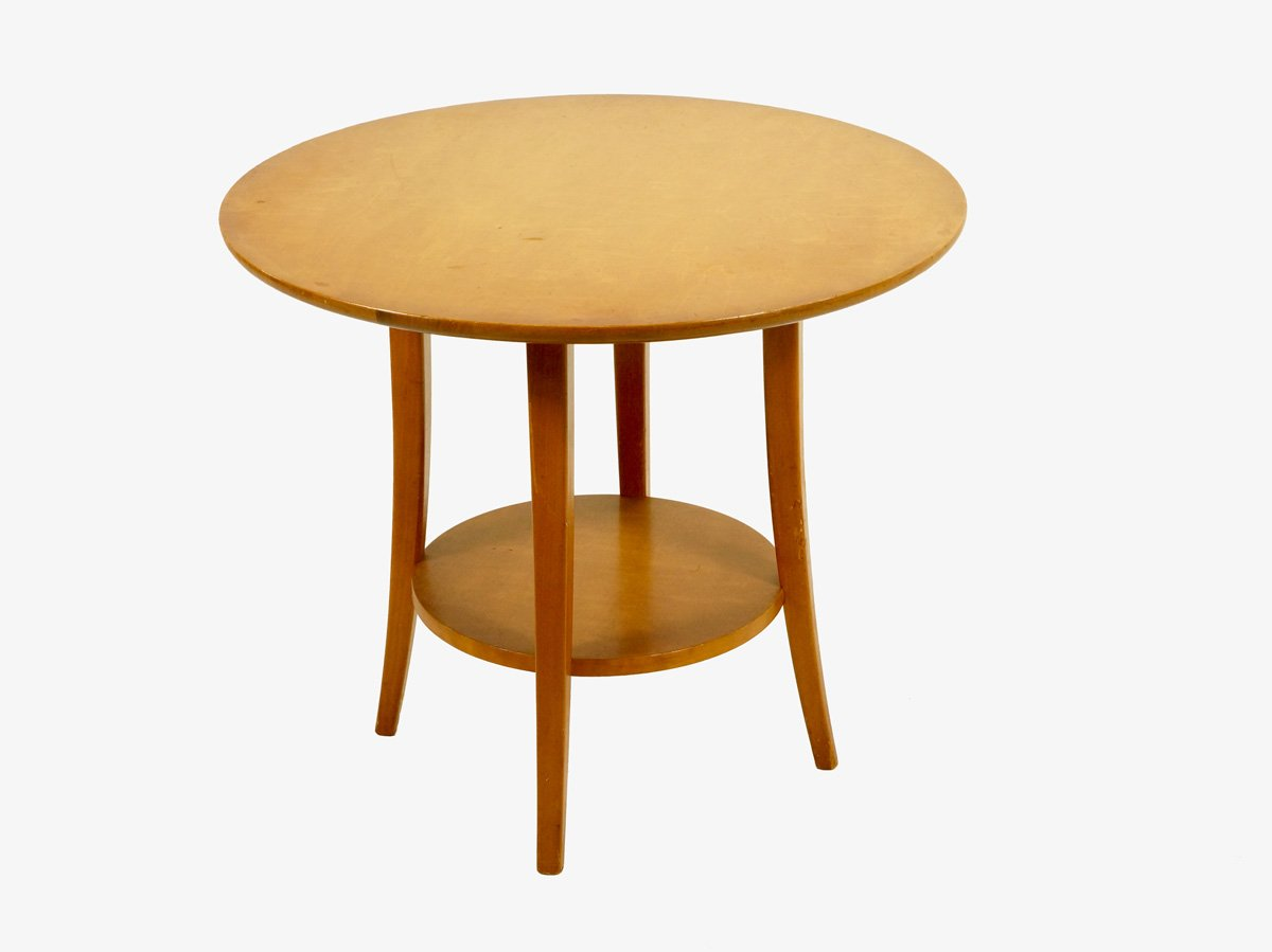 Vintage Circular Birch Wood Coffee Table 1950s For Sale