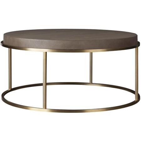 Portobello Modern Shagreen Round Coffee Table Gold Zin