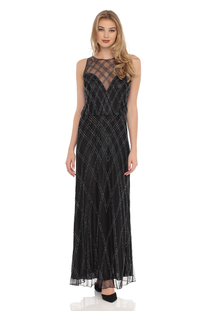 Art Deco All over beaded Blouson Dress