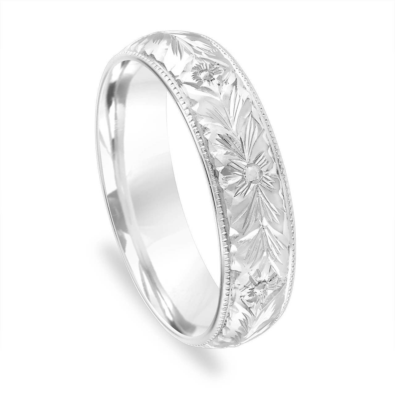 Hand Engraved Wedding Band Mens Vintage Wedding Ring 5 Mm Womens Wedding Band Unique Antique