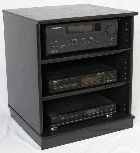 Small Black Oak Entertainment Center Stereo Cabinet 27