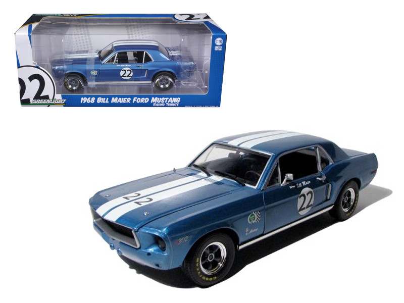 1968 Ford Mustang T A  22 Bill Maier Racing Tribute Edition 1 18 Diecast  Car Model by Greenlight 1968 Ford Mustang T A  22 Bill Maier Racing Tribute Edition 1 18