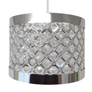 Moda Sparkly Ceiling Pendant Light Shade Fitting  Silver   Bargains     Item   Easy Fit Light Decorations Design   Moda Colour   Silver Size   24 cm