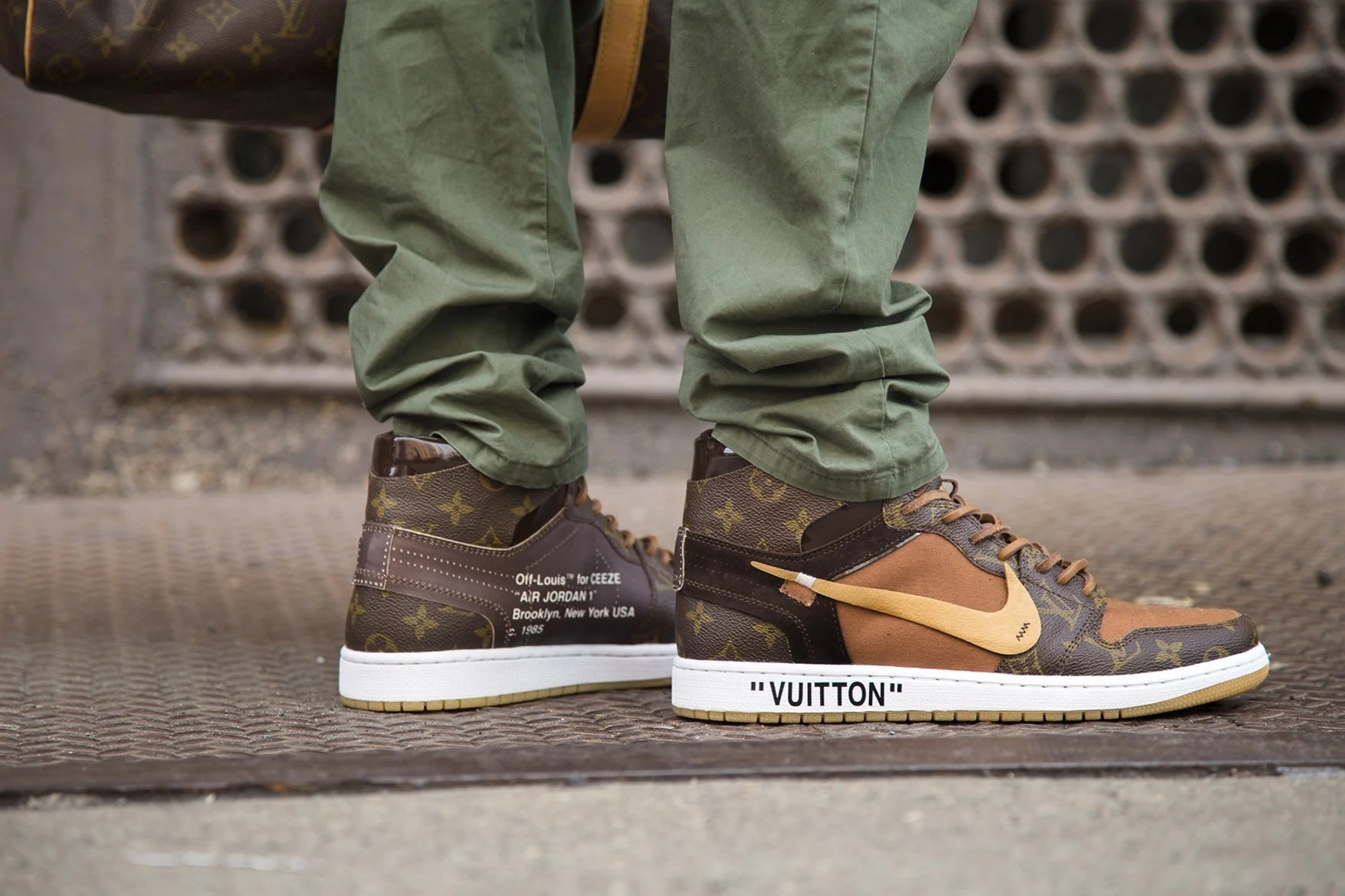 Virgil Abloh s Louis Vuitton appointment inspired this Nike Air     Nike s  Off Louis  Air Jordan 1 sneaker has Louis Vuitton s signature  monogram across its upper