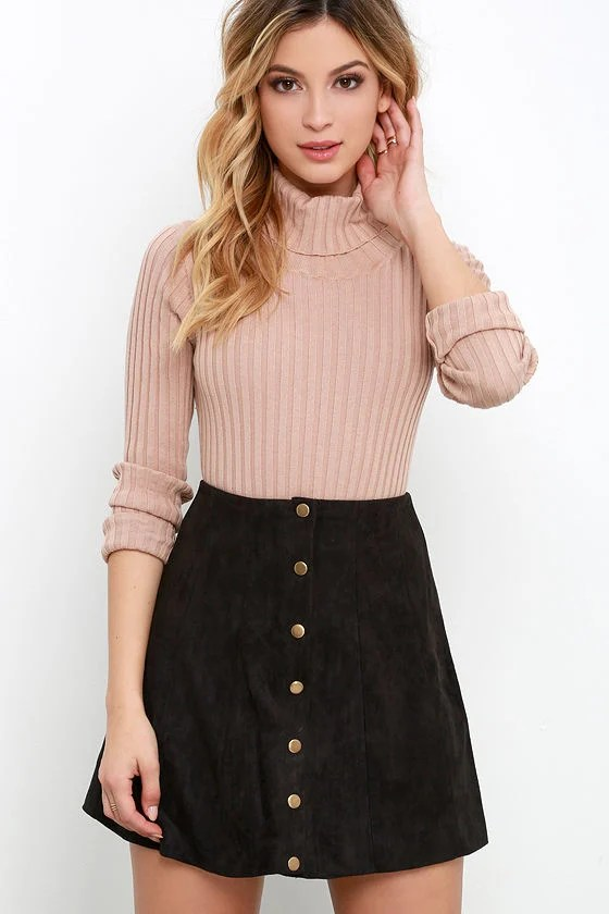 Fall Outfit Ideas Denim Mini Skirt
