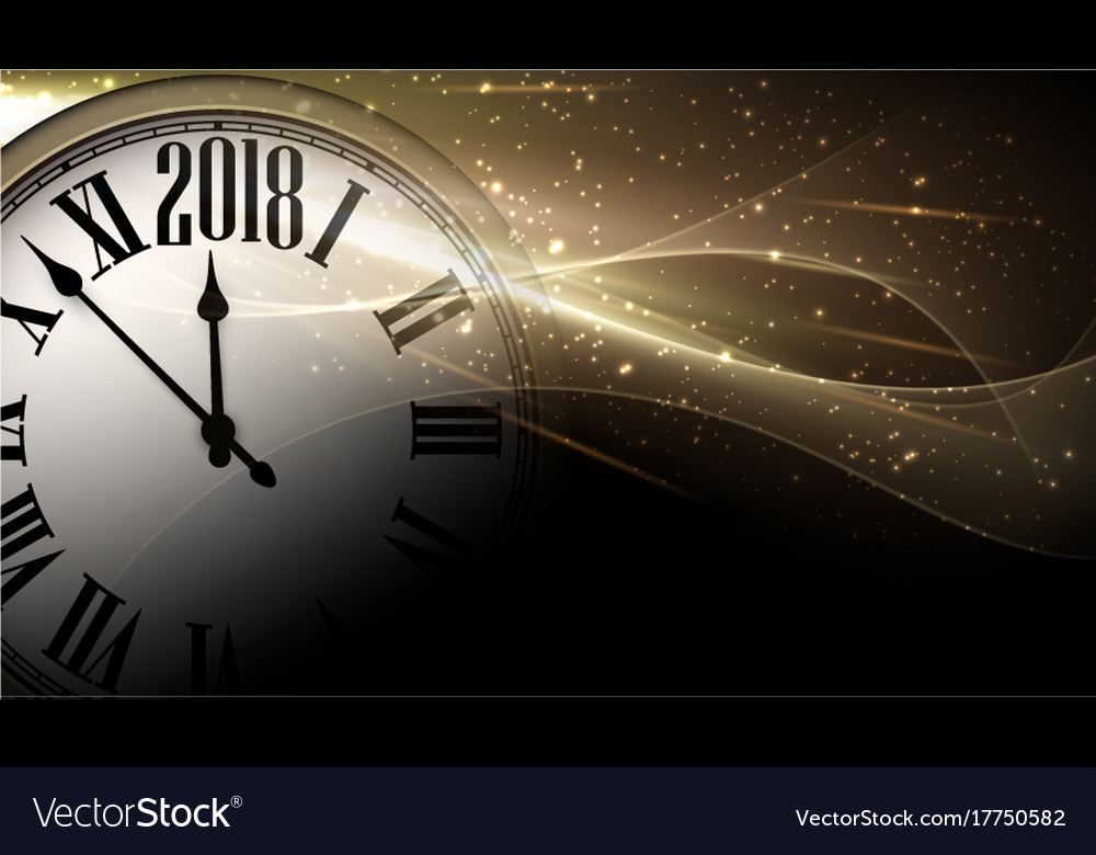 Golden 2018 new year clock background Royalty Free Vector Golden 2018 new year clock background vector image