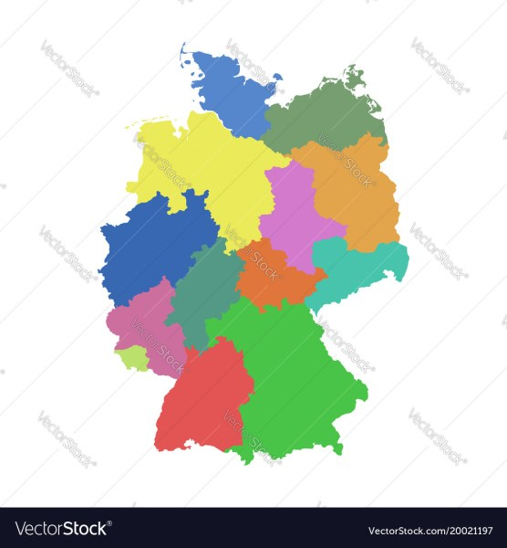 Germany map with federal states flat Royalty Free Vector Germany map with federal states flat vector image