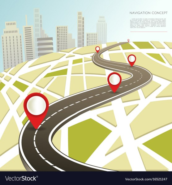 Navigation map with location pinc car road Vector Image