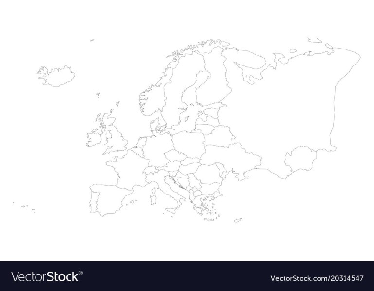 Blank outline map of europe Royalty Free Vector Image Blank outline map of europe vector image