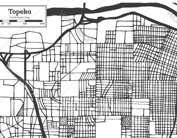 HD Decor Images » Topeka kansas usa city map in retro style Vector Image