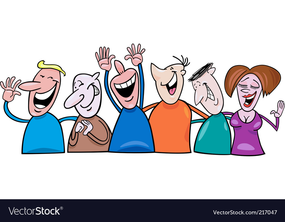 Cartoon laughing people Royalty Free Vector Image