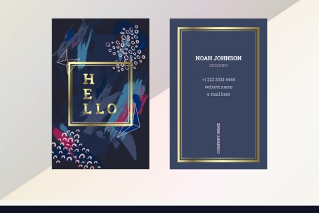 Double sided business card template in blue color Vector Image