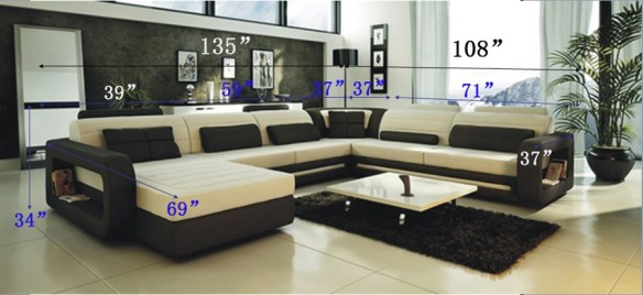 Ultra Modern Cream and Black Leather Sectional Sofa CP 2200 List Price   3 995 00