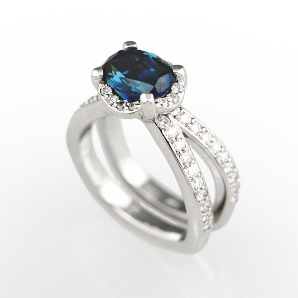 J Briggs   Co Oval Halo Double Band Diamond Ring Blue Sapphire Double Band Diamond Ring