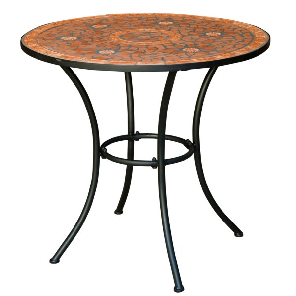 Round Outdoor Patio Bistro Table with Terracotta Mosaic Tiles and     Round Outdoor Patio Bistro Table with Terracotta Mosaic Tiles and Black Metal  Frame
