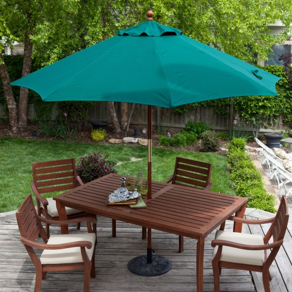 Commercial Grade 9 Ft Patio Umbrella with Forest Green Sunbrella     Commercial Grade 9 Ft Patio Umbrella with Forest Green Sunbrella Canopy