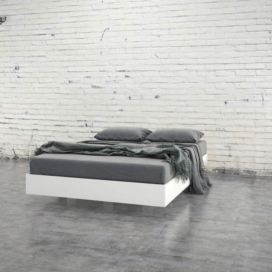 Modern Levitating Floating White Platform Bed In Queen