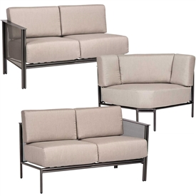 Outdoor Sofas and Love Seats Pictured is the Jax Scetional from Woodard Outdoor Furniture  sold by  Timeless Wrought Iron