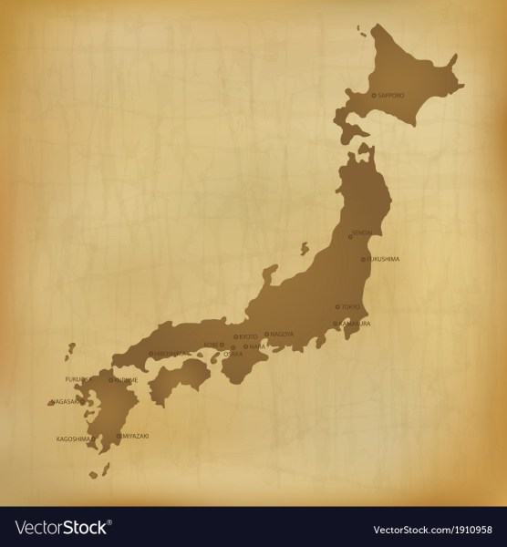 Old Japan Map Royalty Free Vector Image   VectorStock Old Japan Map vector image