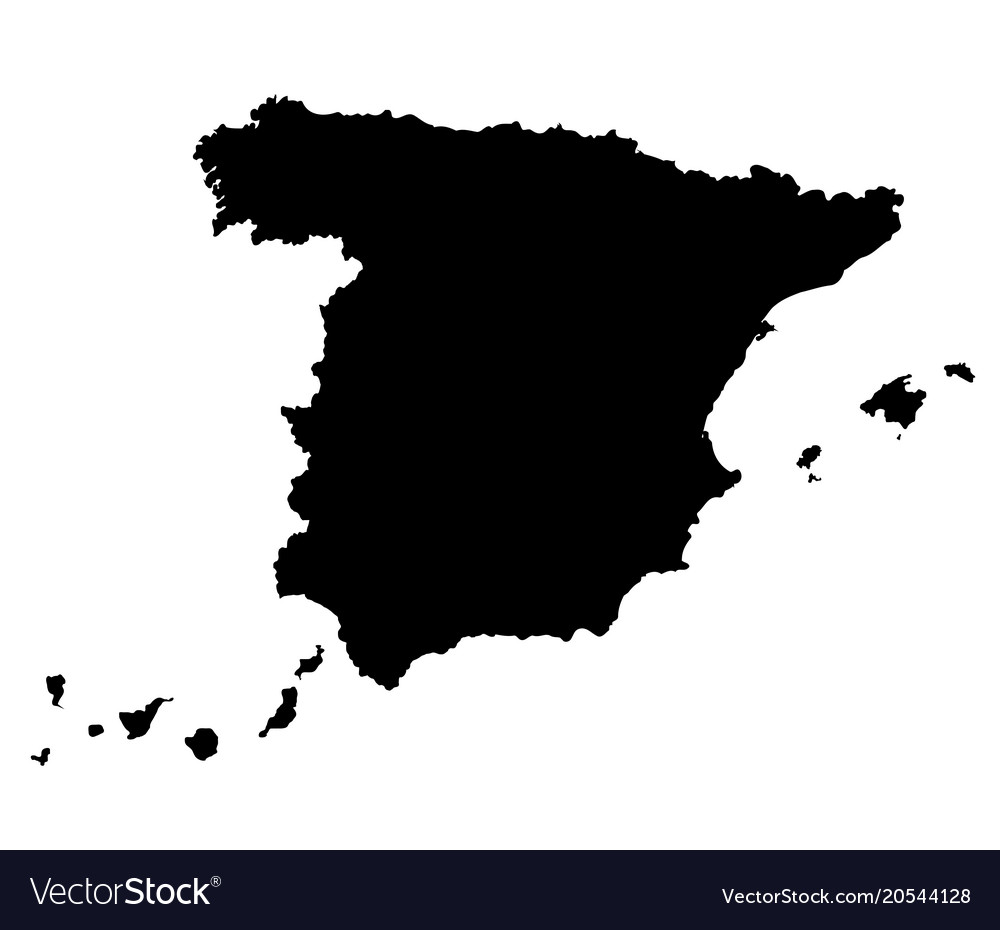 Spain map outline Royalty Free Vector Image   VectorStock Spain map outline vector image