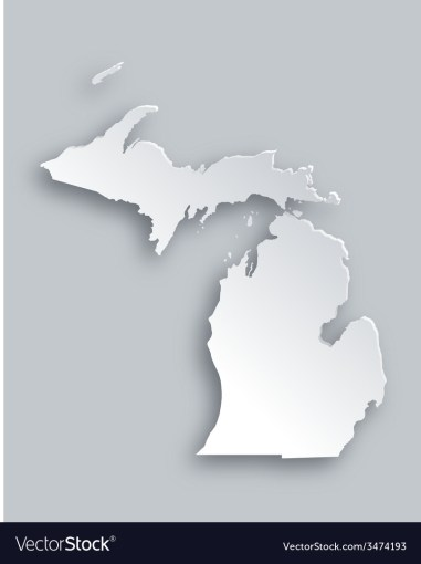 Map of Michigan Royalty Free Vector Image   VectorStock Map of Michigan vector image