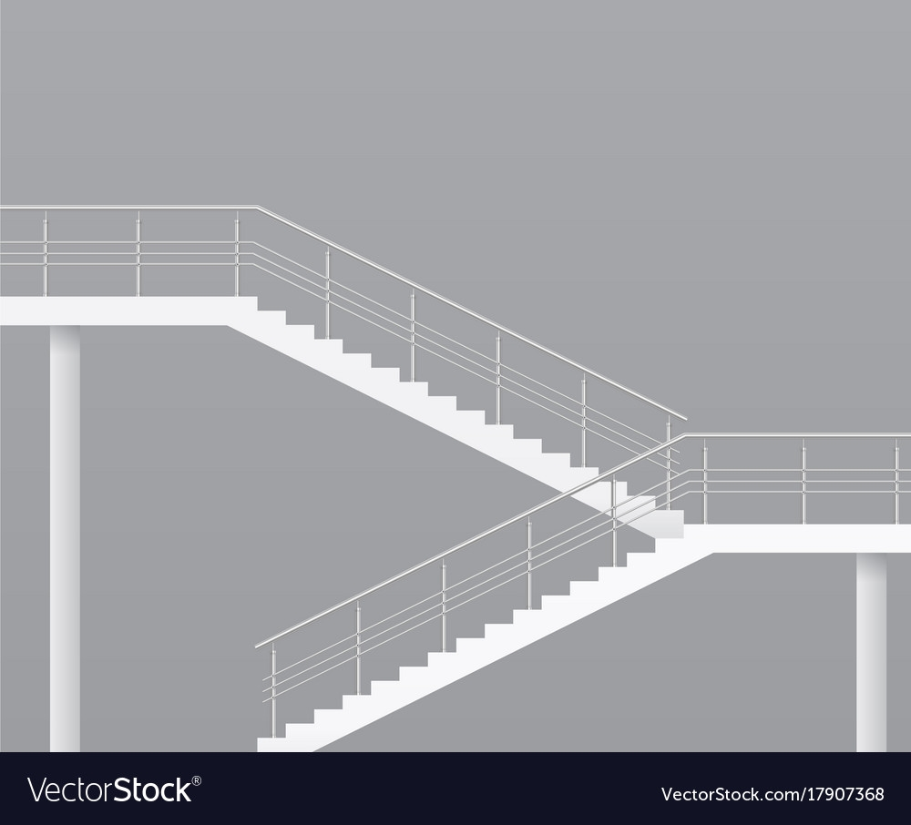 Modern Staircase With Metal Railings Royalty Free Vector | Black Metal Handrail For Stairs | Rod Iron | Metal Railing | Iron Pipe | Natural Wood | Artistic