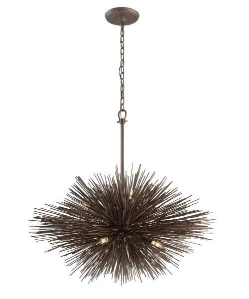 Troy Lighting F3668 Uni 40 Inch Wide 8 Light Large Pendant   Capitol     magnifying glass image Shown in Tidepool Bronze finish