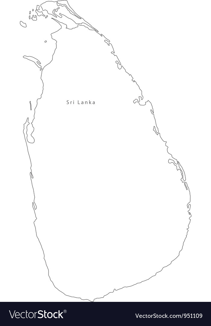 Black White Sri Lanka Outline Map Royalty Free Vector Image Black White Sri Lanka Outline Map vector image