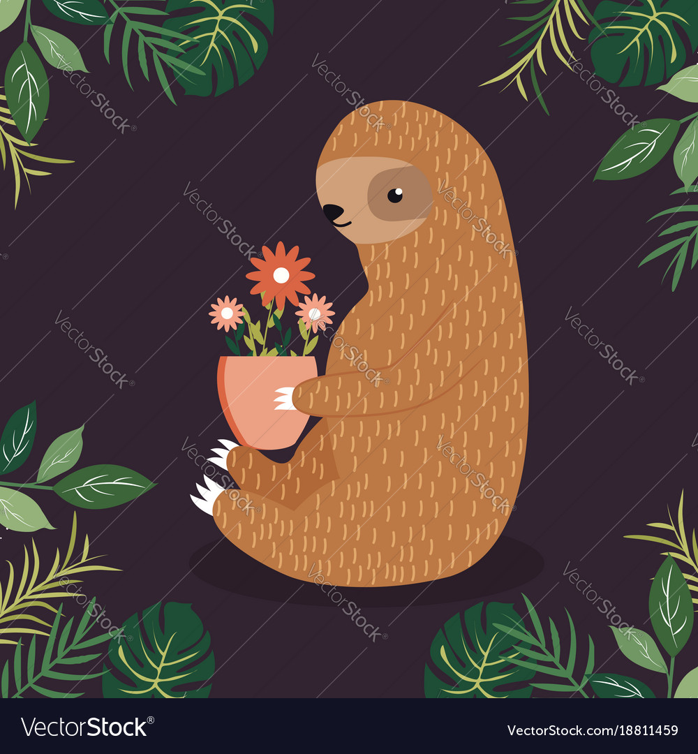 Cute sloth with a pot of flowers Royalty Free Vector Image Cute sloth with a pot of flowers vector image